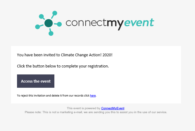 a Connect My Event email invitation